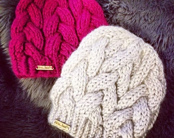 Braided cable knit hat