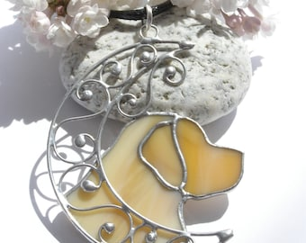 Pendant Labrador Retriever with the Moon, Stained Glass Jewelry, Labrador Retriever Necklace, Dog Jewelry, Retriever dog Lover Gift