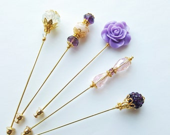 Royal Princess  Purple Hijab Pins Set- Stick Pins / Hat Pins / Decorative Pins / Eid Gifts / Bridal Gifts / Purple Hijab Pins / Crystal Pin