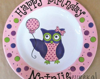 "Party Owl & Polka Dots Birthday Plate - Large 10.5"" Ceramic Plate"
