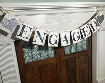 Engagement Banner, Engagement Sign, Engagement Party Decor, Engagement Party Ideas, Rustic Banner