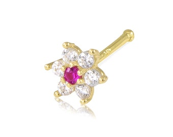 14K Solid Yellow Gold Cubic Zirconia Red Flower Nose Stud Ring 20g - Body Piercing Jewelry