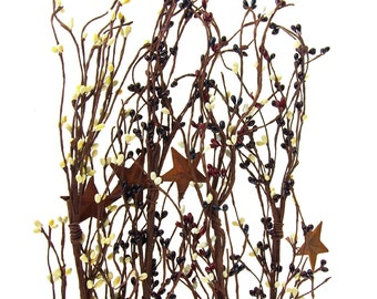Artificial Berry Garland with Rusty Stars, 40-Inch