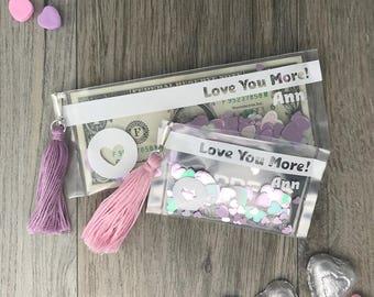 Love You More Valentine's Day Money Holder, Valentine Gift Card Holder, Personalized Valentine's Day Card, Tassel Card, Valentine's Day Gift