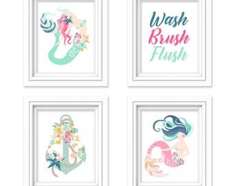 Mermaid Bathroom Decor - Bathroom Wall Decor - Mermaid Wall Art - Mermaid Wall Decor - Girls Bathroom Decor - Wash Brush Flush - Set of 4