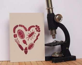 Science greeting card - heart of microbes