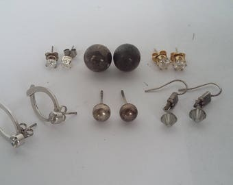 Six Pairs of Earrings Some Sterling