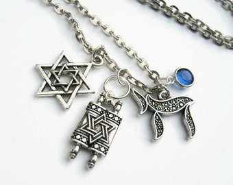Personalized Torah Necklace, Star of David Necklace, Jewish Scroll Birthstone Necklace, Chai Necklace, Hanukkah Jewelry, Judaism Necklace