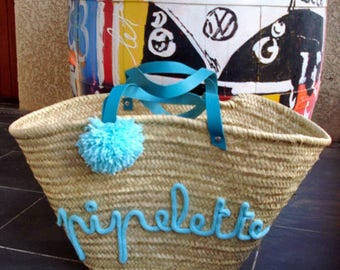 Large beach Tote straw Chatterbox knitting basket