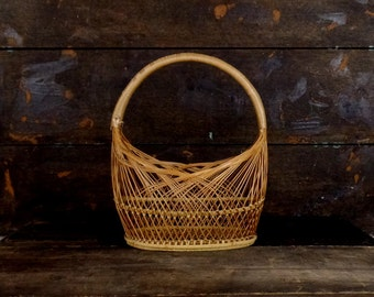 Vintage wooden stick/straw woven handle basket/decorative basket