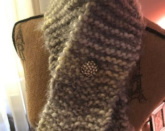 White, Gray and Green Hand knit neck warmer with Rhinestone button