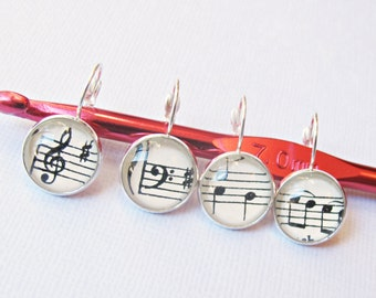Music Stitch Markers For Crochet Knitting - Jewelry Jewellery Removable Set - Treble Clef Bass Silver Progress Keepers