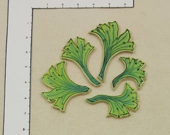 GROUPING - bright green seaweed leaves - handmade ceramic mosaic art tile