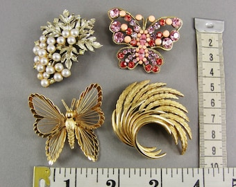 Vintage Brooch Lot, Wear, Repurpose Lot, Abstract, Monet, Butterfly, Pink Rhinestones, Assemblage Supply, Destash Lot