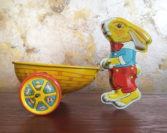 Vintage lithograph J Chein co toy bunny