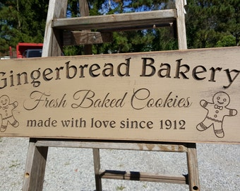 """Custom Carved Wooden Sign - """"Gingerbread Bakery"""" - 24""""x7.5"""""""