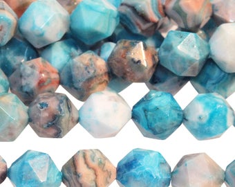 Star Cut Blue Crazy Lace Agate, Faceted Round Gemstone Beads, Dyed Blue Agate Beads, Faceted Agate Nuggets, 8mm - 24 beads (ST-175)