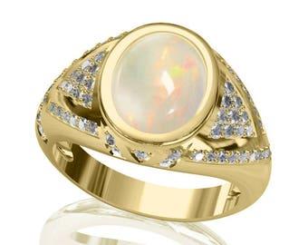 10x8mm Australian Black Opal Ring w/ 0.42ct Diamond in 14K or 18K Gold 2.17TCW Sku: R2423