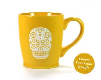 FREE PERSONALIZING - Sugar Skull Mug - Day of the Dead