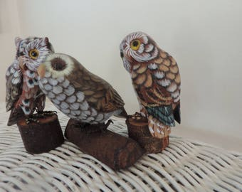 Three Hand Carved and Painted Vintage Owls