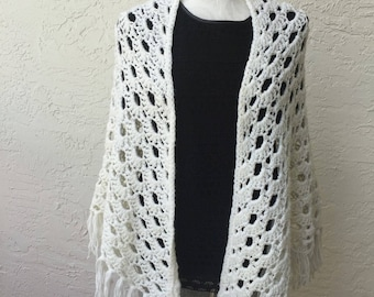 Crochet lace triangle white shawl scarf wrap white shawl oversized triangle scarf white blanket scarf gift for her ready to ship