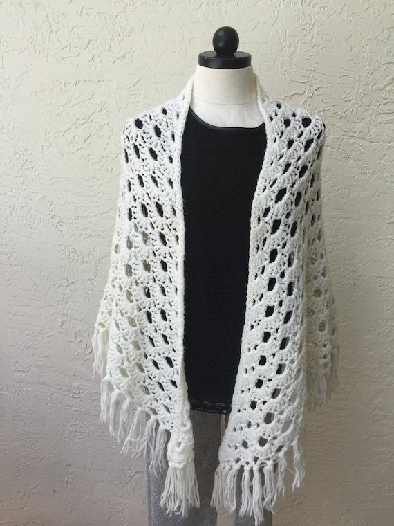 Crochet encaje triángulo blanco chal bufanda abrigo regalo de