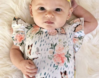 Toddler Leotard, Baby Girl Floral Bodysuit, Cute Fox Boho Leotard, Baby Girl Gift, Baby Pink Peach Leotard, Mami's Little Muse