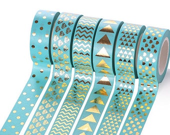 6 rolls golden pattern tiffany blue washi tape, masking tape, planner decor, cute stationery