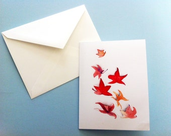 Watercolor Card - Autumn Leaves