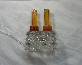 Vintage Art Deco Glass Double Perfume Bottle, Amber Bakelite Tops
