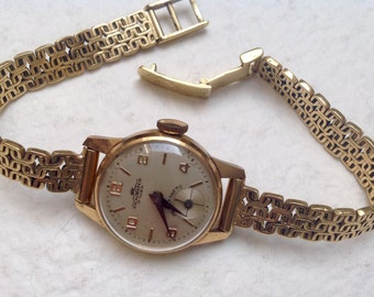 "Vtg 40s Woman Swiss Solid Yellow Gold Watch ""Dichiwatch"" 17 Rubis Antimagnetic with 18k Solid Gold Mesh Link Bracelet"
