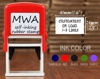 Custom Rubber Stamp Self Inking - Personalized Business Stamp, Address, Name, Post, Garage, Check Stamp - 4124 RED