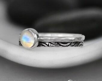 Moonstone Stacking Wedding Ring Set - Sterling Silver Engagement Ring Set - Moonstone Ring Wedding Set -Bezel Set Ring & Celestial Band Ring