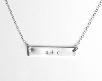 Silver bar personalized love necklace