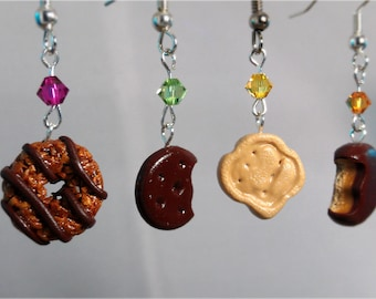 Cookie Earrings Gift Set - Four Pairs - Mint Chocolate Caramel Coconut Shortbread  Peanut Butter