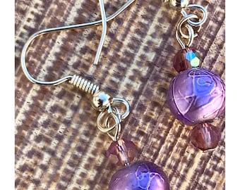 Purple foil bead earrings