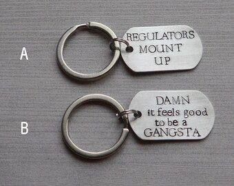 90s rap dog tag keychain - hand stamped - funny keychain
