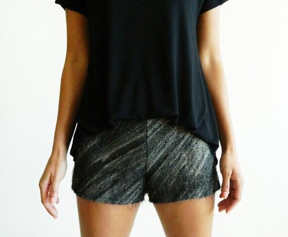 Charcoal & Gold Diagonal Stripe Eyelash Bouclé Shorts