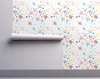 Watercolor Rainbow Stars Wallpaper - Stars Rainbow By Emmaallardsmith - Custom Printed Removable Self Adhesive Wallpaper Roll by Spoonflower