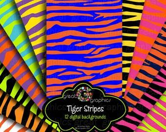 Tiger Stripe Animal Print Digital Paper Animal Paper Digital Tiger Stripe Background Printable Instant Download
