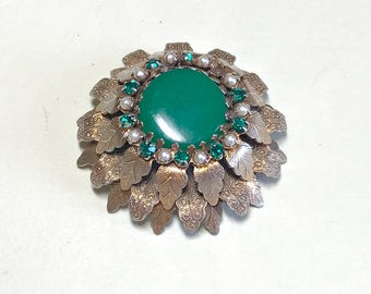 Vintage multilayer leaf brooch with green stones and faux seed pearls, missing one rhinestone green brooch, green leaf brooch 1960s