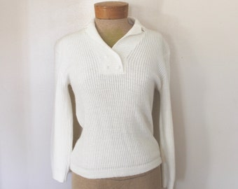 Vintage 1960s Womens Ivory/White Collared Pullover Sweater Size Medium/Large
