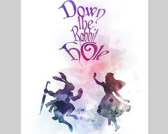 Alice in Wonderland Quote ART PRINT illustration, Down the Rabbit Hole, Disney, Princess, Wall Art, Home Decor, Nursery