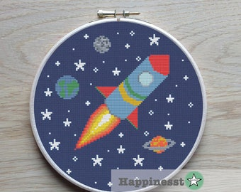 cross stitch pattern rocket, modern cross stitch, space, PDF,  ** instant download**