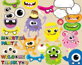 Monsters Clipart, Monsters Party clip art (CG024), Monster Mouth, Monster Eyes , Photo Booth props / INSTANT DOWNLOAD