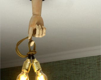 Ceiling Wooden lighting, Transformer lamp, Wooden hand 30cm long with a textile-covered cable. Human parts art design
