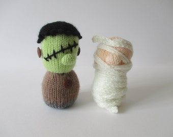 Frankenstein and Mummy toy doll knitting patterns