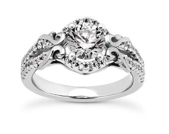 14kt WhiteYellowRose Gold Engagement Ring 2