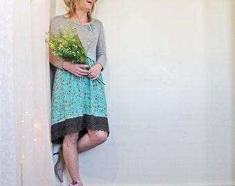 upcycled dress - M - upcycled clothing, repurposed clothing, ethical fashion, long sleeved dress