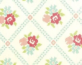 SALE!! 1/2 Yard - Vintage Picnic-Bonnie and Camille - Cream-Aqua - Moda - Fabric Yardage - 55120-18